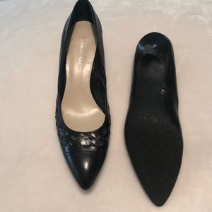 Black kitten heel pumps